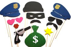 Photo Booth Props - Cops and Robbers - 12 piece prop set - Birthdays, Weddings, Parties - GLITTER Photobooth Props