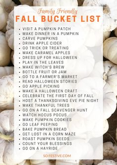 Family-Friendly Fall Bucket List. These ideas are so simple and cute!