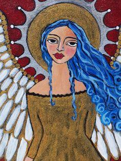 Original Stunning Blue haired Spanish Folk art Angel Saint painting framed  Linda kelly