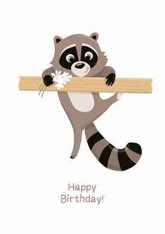 ART of Alexandrinko racoon card happy birthday illustration - - ART of Alexandrinko racoon card happy birthday illustration happy birthday KUNST der Alexandrinko Waschbärkarte alles Gute zum Geburtstag Illustration Happy Birthday Girls, Happy Birthday Messages, Happy Birthday Images, Happy Birthday Greetings, Funny Birthday Cards, Birthday Pictures, Birthday Wishes, Art Birthday, Happy Birthday Animals