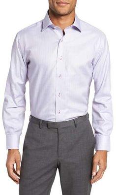 Lorenzo Uomo Trim Fit Textured Check Dress Shirt Mens Big And Tall Shirts, Handsome, Nordstrom, Shirt Dress, Texture, Fitness, Cotton, Mens Tops, Check Dress