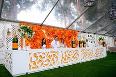 A beautiful bar.  We can replicate this look with our event stations and some wood work for your next event.