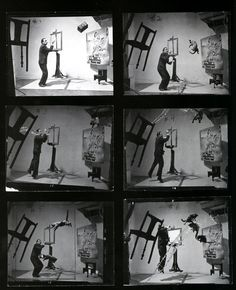 Dali's Cats - This photo was shot live, no amount of post-processing or Photoshop has been used to achieve this effect. It took 26 attempts and 5 hours. Philip Halsman would count to four, where Dali would leap into air, and three assistant will throw the cats, another will throw a bucket of water, and Mrs. Halsman held the chair.