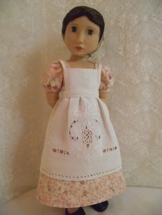 VintiqueDesigns presents a stunning Regency Gown & Pantalettes set, along with a vintage Linen Apron, for A Girl For All Time dolls - Matilda,