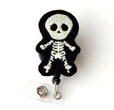 Skully Skeleton  Glow In The Dark Badge Holder Felt Badge Reels Radiology Tech Gift Xray Halloween Badge Clips  Cute Holiday Badge Pulls by BadgeBlooms, $8.00