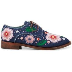 Anouki Denim Liana Embellished Brogues ($650) ❤ liked on Polyvore featuring shoes, oxfords, brogue oxford, pointed toe oxfords, balmoral oxfords, pointy toe shoes and brogue shoes