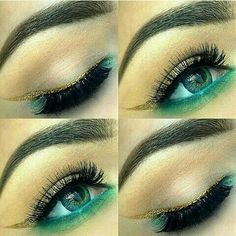 Green eye make up with gold eye liner