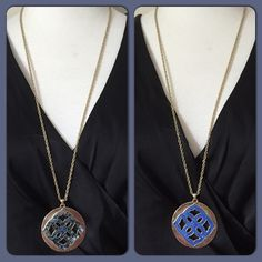 """2 in 1 Necklace Set II 28"""" gold tone fashion necklace set with 2"""" round 2 in 1 medallion with double sided shades of mottled blue giving a marble effect enamel on it. Includes 1"""" matching earrings. Jewelry Necklaces"""