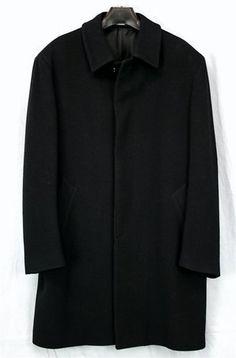 Jos A Bank Merino Wool Topcoat Coat Black Sz 42R 42 R Mens Luxe | eBay