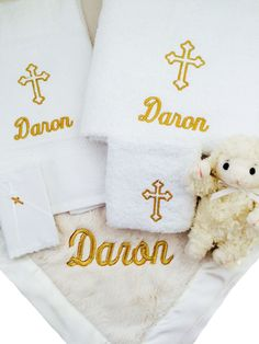 Fattamano baby stroller blanket blue trim stroller blanket personalized baby gift basket 3 piece towel set embroidery with gold thread white negle Images