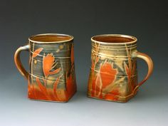 Nancy Halter & Greg Jahn  Pair Shino Mugs strictly functional: