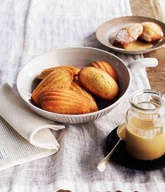 Australian Gourmet Traveller recipe for Orange-blossom madeleines with burnt-honey crème Tea Cakes, Orange Recipes, Sweet Recipes, Fast Recipes, Shortbread, Macarons, Orange Blossom, Food Inspiration, Dessert Recipes