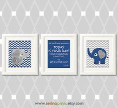 Navy and grey elephant Nursery Art Print Set  5x7  by SednaPrints, $25.00