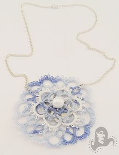 Tatting blue and white medallion necklace - Cloudy Sky - Tatted necklace, lace medallion on a chain.
