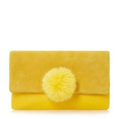 DUNE ACCESSORIES EPOMMY - Pom Pom Flap Over Clutch - yellow | Dune Shoes Online