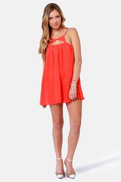 Pretty Neon Coral Dress - Tank Dress - Cutout Dress - $40.00