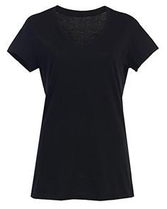 Women Regular and Plus Size V Neck Jersey Plain Cheap T Shirts Black XL - Brought to you by Avarsha.com