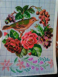 Cross Stitch Bird, Cross Stitch Borders, Cross Stitch Animals, Cross Stitch Flowers, Cross Stitch Charts, Beaded Banners, Embroidered Bird, Christmas Cross, Needlepoint