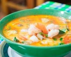 Tom yam kung (soupe thaïlandaise aux crevettes et chili) Curry Rouge, Winter Food, Fish And Seafood, Cheeseburger Chowder, Grain Free, Thai Red Curry, Food Inspiration, Veggies, Cooking
