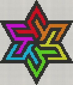 Rainbow stained glass star perler bead pattern or cross stitch Hama Beads Patterns, Loom Patterns, Beading Patterns, Cross Stitch Patterns, Bracelet Patterns, Embroidery Patterns, Quilt Patterns, Animal Patterns, Jewelry Patterns