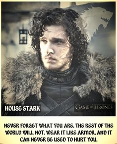 """Game of Thrones. Rob Stark. """"Never forget what you are. The rest of the world will not. Wear it like armor, and it can never be used to hurt you."""""""