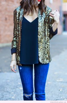 Jeans, navy top and golden glitter blazer
