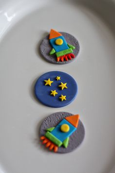 Fondant Space, Rocket and Star Toppers for Decorating Cupcakes, Cookies or other Sweet Treats