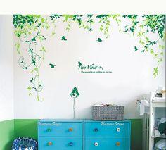 Flores abstractas con aves de vinilo pared etiqueta, etiqueta, diseño de la naturaleza