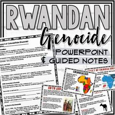 This resource includes a 9 slide PowerPoint presentation and 1 page guided notes worksheet focusing on the events leading up to, during, and after the genocide in Rwanda. This resource includes an answer key.PowerPoint includes links to several videos including PBS News Hour program focusing on the ... News Hour, Family Movie Night, History Class, Teacher Newsletter, Social Studies, Worksheets, I Am Awesome, Homeschool, Presentation