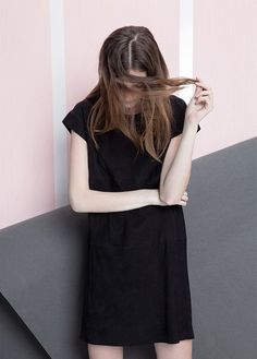 Premium-Suede Shift Dress from Mango Mango Clothing, We Wear, How To Wear, Mango Fashion, Wearing Black, Affordable Fashion, Style Me, Cool Outfits