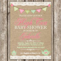 High Tea Baby Shower Invitation  High Tea by LittleMsShutterbug, $10.00