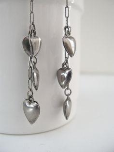 Crush Earrings  vintage heart charm earrings  by corrieberrypie, $16.50