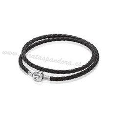 57a2d9c9140e Ofertas Pandora Regalos Pulseras Cuero Cuero Trenzado Negro Doble Encanto  Pandora Descuentos