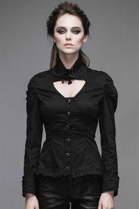 Viktorianische Bluse mit breiten Manschetten und Rüschen - weiss