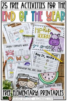Looking for some fun ideas the end of the year? Check out these 25 free lessons and activities for the end of the year! Click the picture to see activities that are perfect for your elementary students! End Of Year Activities, Free Activities, Writing Activities, Outdoor Activities, Future Classroom, Classroom Ideas, Fun Classroom Activities, Classroom Freebies, Preschool Ideas