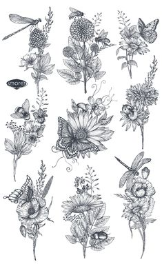 Pretty Tattoos, Unique Tattoos, Small Tattoos, Flower Tattoos, Bee And Flower Tattoo, Butterfly Sleeve Tattoo, Butterfly With Flowers Tattoo, Flower Sleeve, Dragonfly Tatoos