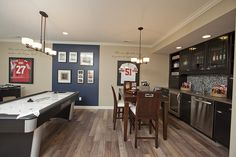 Basement wet bar and game area