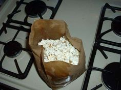Make your own microwave popcorn!  I need a paper bag!  I love movie theater buttered popcorn, but this way you can also pop it with healthier olive oil or coconut oil.