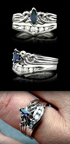Marquise Sapphire Puzzle Engagement Ring with Channel-Set Diamond Shadow Band