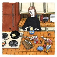 """I llustrator of the enduring series """"What Women Do When No One's Watching."""" """"The women in Sally Nixon 's illustrations don. People Illustration, Illustrations, Graphic Design Illustration, Illustration Art, Love Drawings, Art Drawings, House Drawing, Vignettes, Art Inspo"""
