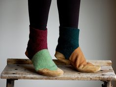 Women Slippers, Felted Wool Leather Boots, women size 8, 9.5, Fall & Winter Again. $88.00, via Etsy.