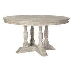 White Washed Pedestal Table - Indoor/Outdoor ($2,995) ❤ liked on Polyvore featuring home, outdoors, patio furniture, outdoor tables, outdoor patio furniture, weather resistant patio furniture, outdoor furniture, outdoor patio table and outdoors patio furniture