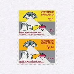 Foresight Prevents Blindness (30/2.25). Bangladesh, 1976. Design: Ahmed F. Karim. #mnh #graphilately