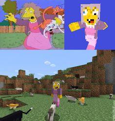 La loca de los gatos de los Simpson, a lo Minecraft