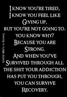 75 Recovery Quotes & Addiction quotes to Inspire Your Addiction Recovery Journey. The path to recovery is never easy. Addiction Recovery Quotes, Alcohol Addiction Quotes, Drug Recovery Quotes, Quotes About Addiction, Depression Recovery Quotes, Relapse Quotes, Recovery Humor, Sobriety Quotes, Sober Quotes