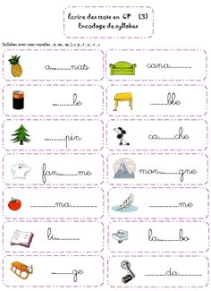 écrire des syllabes French Language Lessons, French Lessons, French Worksheets, Worksheets For Kids, Kids Homework, Math School, Teaching French, Teacher Hacks, Kids And Parenting