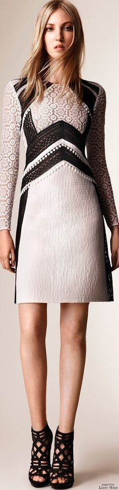 Burberry Prorsum Resort 16: B&W lace dress.