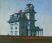 Edward Hopper's The House by the Railroad inspired the look of the Bates house in Alfred Hitchcock's film Psycho. The painting is a fanciful portrait of the Second Empire Victorian home at 18 Conger Avenue in Haverstraw, New York