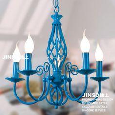 Blue Mediterranean chandelier, wrought iron lamps restaurant light
