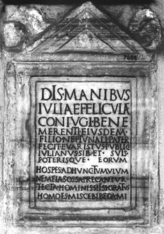 CIL VI, 2357 (Rome, now at the Vatican). © Corpus Inscriptionum Latinarum – BBAW …Hospes, ad hunc tumulum/ ne meias ossa precantur/ tecta hominis, set si gratus/ homo es, misce bibe da mi. Visitor, the buried bones of (this) man, beseech that you not urinate at this tomb, but if you are an agreeable man, mix (a libation), drink it, and give me some. In Ancient Times, Ancient Rome, Ancient History, Latin Quotes, Latin Phrases, Vatican, Underworld, Stone Carving, Give It To Me